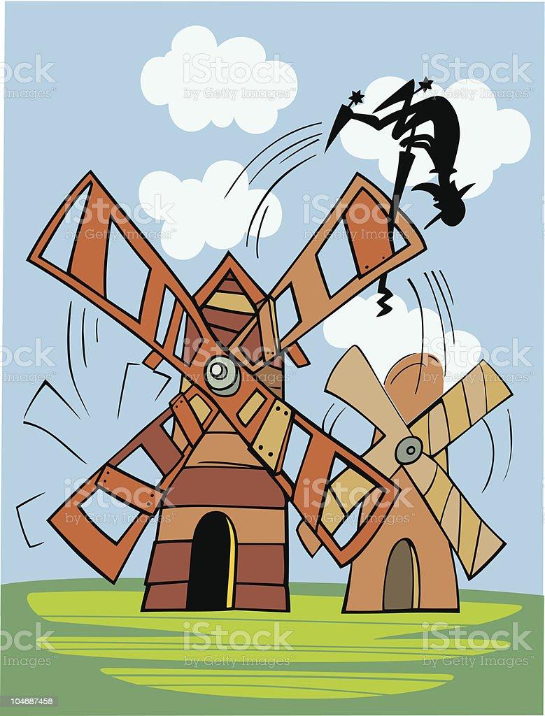 Ilustración de Don Quijote Y Molino De Viento y más banco de ...