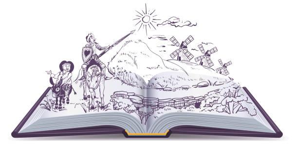 bildbanksillustrationer, clip art samt tecknat material och ikoner med don quijote öppna bok vektor tecknad illustration - spain solar