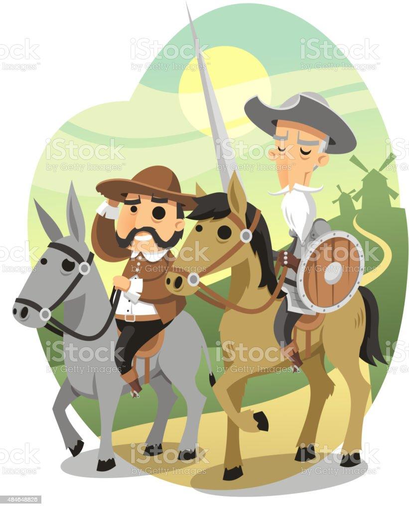 Don quixote & Sancho Panza vector art illustration