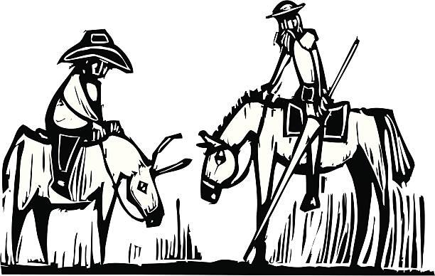 stockillustraties, clipart, cartoons en iconen met don quixote - houtgravure