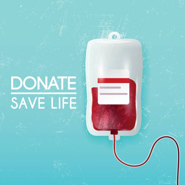 Donate blood bag on blue background. Vector 3d illustration. vector art illustration