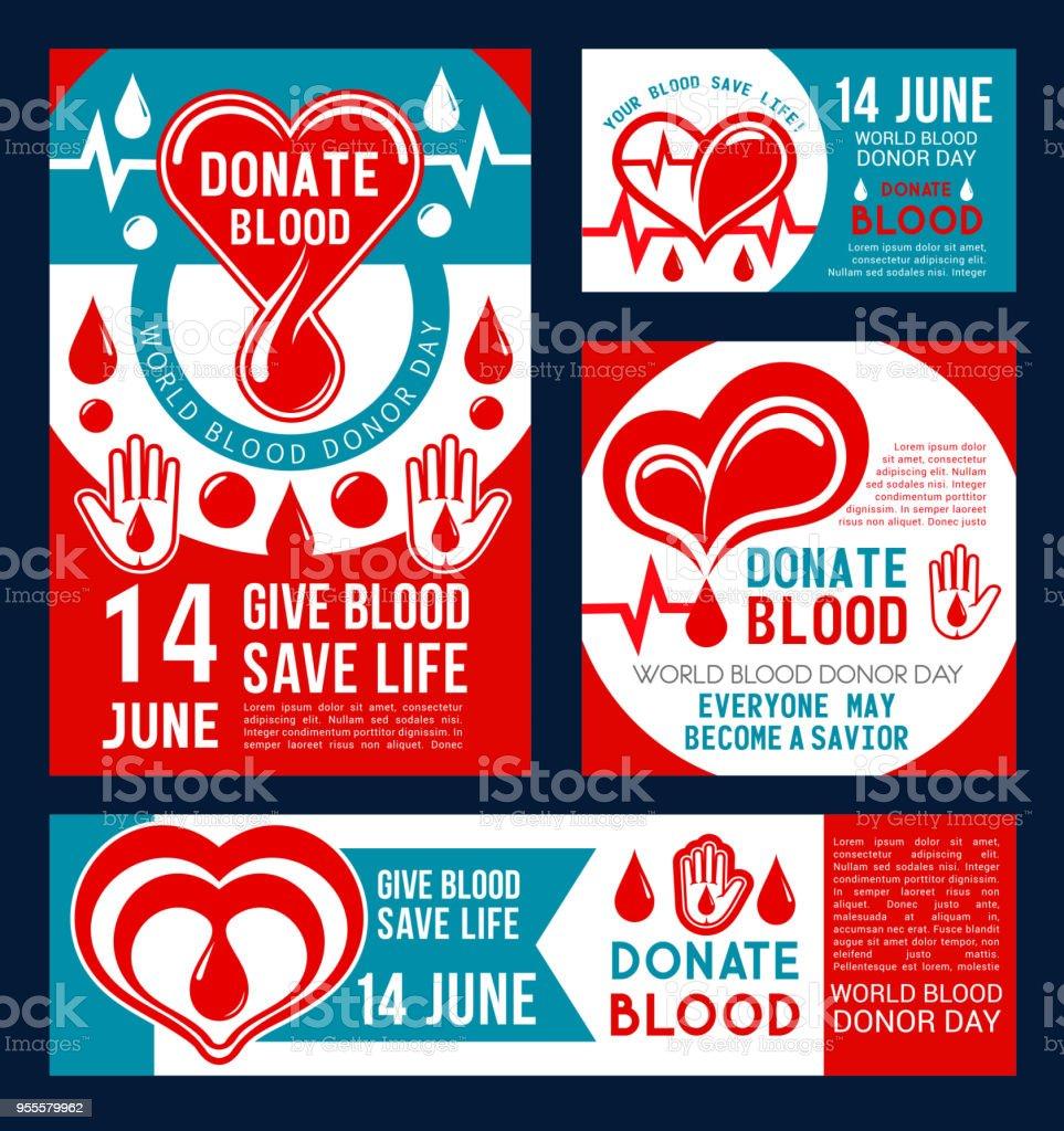 Doar a bandeira de sangue do doador medical center design - ilustração de arte em vetor