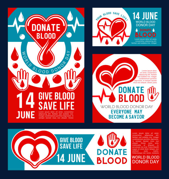 Donate Blood banner of donor medical center design vector art illustration