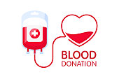 Donate blood concept with blood bag and heart. Blood donation vector illustration. World blood donor day.