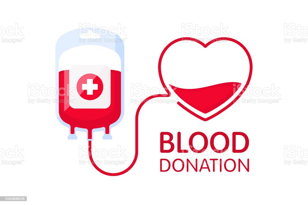 Donate blood concept with blood bag and heart. Blood donation vector illustration. World blood donor day. vector art illustration