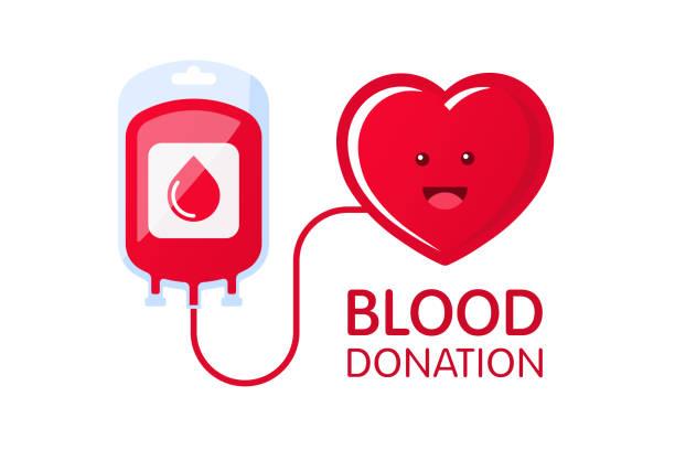 ilustrações de stock, clip art, desenhos animados e ícones de donate blood concept with blood bag and heart character. blood donation vector illustration. world blood donor day. - blood donation