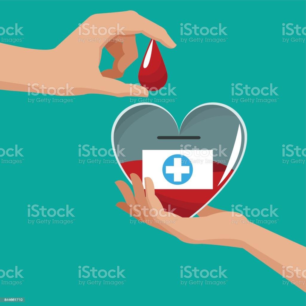 donate blood hand holding heart drop vector art illustration