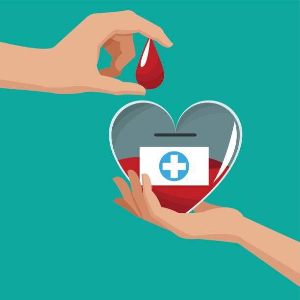 doar sangue mão gota de coração - ilustração de arte em vetor