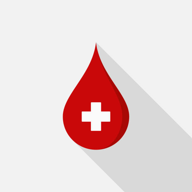 Donate blood icon with long shadow on gray background, flat design style vector art illustration
