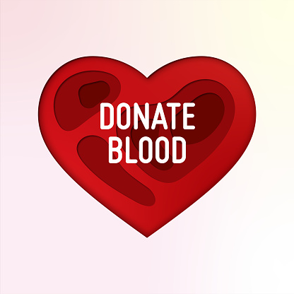 Donate Blood Paper Cut Concept with Heart Shape