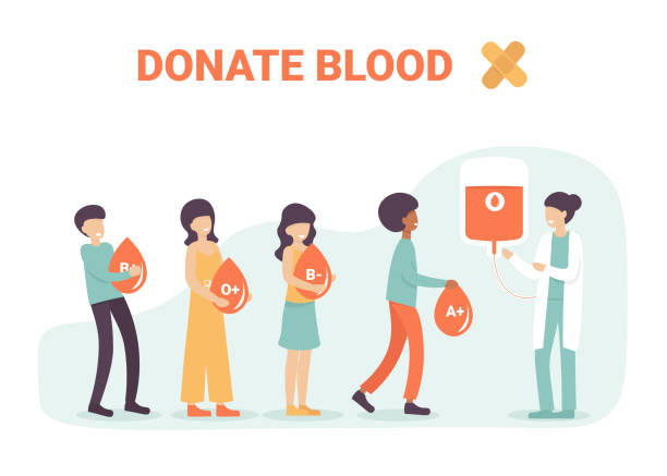 donate blood, people in line with blood vector art illustration