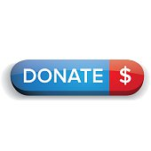 Donate button vector blue and red