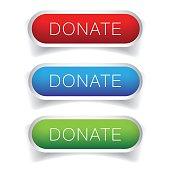 Donate button vector set