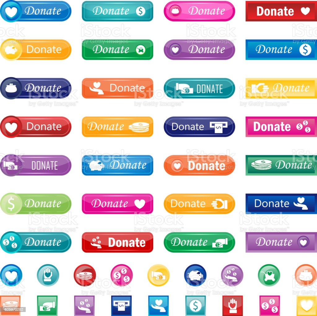 Donate buttons vector set.
