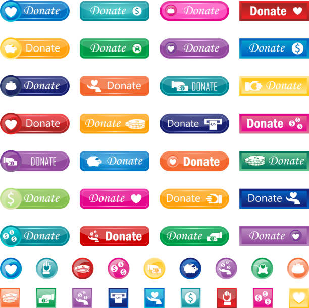 Donate buttons vector set. Vector donate concept hand and money set of buttons in flat style. Donation gift charity, isolated web donate buttons design sign contribute. Money giving symbol donate buttons set. contributor stock illustrations