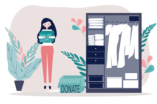 Donate clothes. Illustration in flat of Women or volunteer standing near the her cupboard with donation boxes. Volunteering, charity, goodwill concept for banner, website design or landing web page