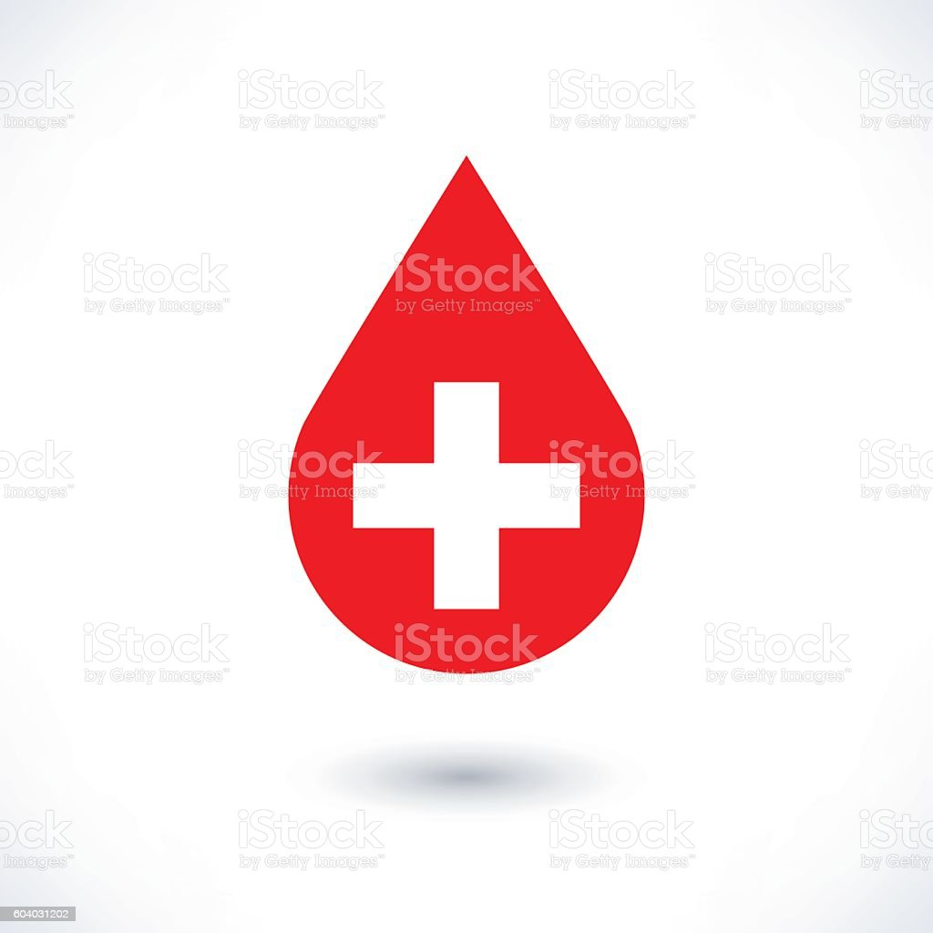 Donate drop blood red sign with white cross vector art illustration