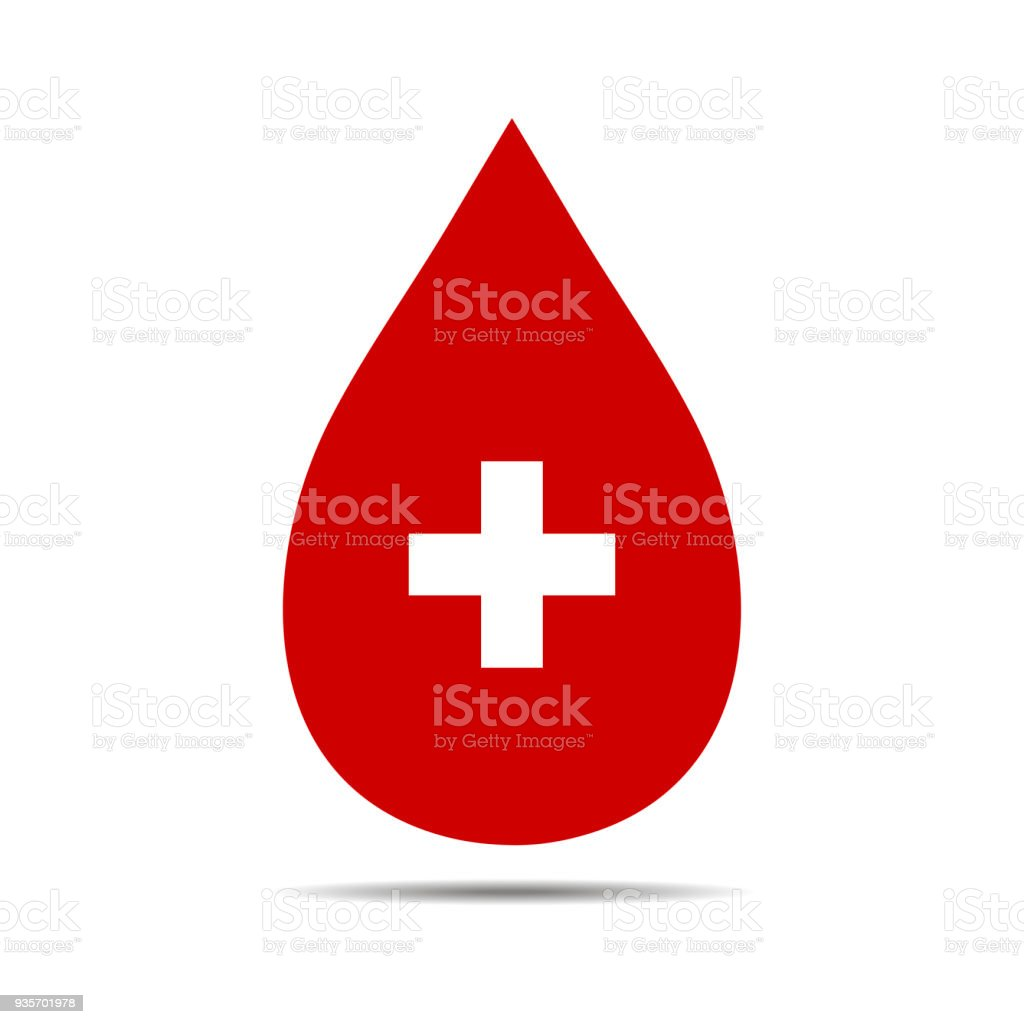 Donate drop blood sign with cross vector art illustration