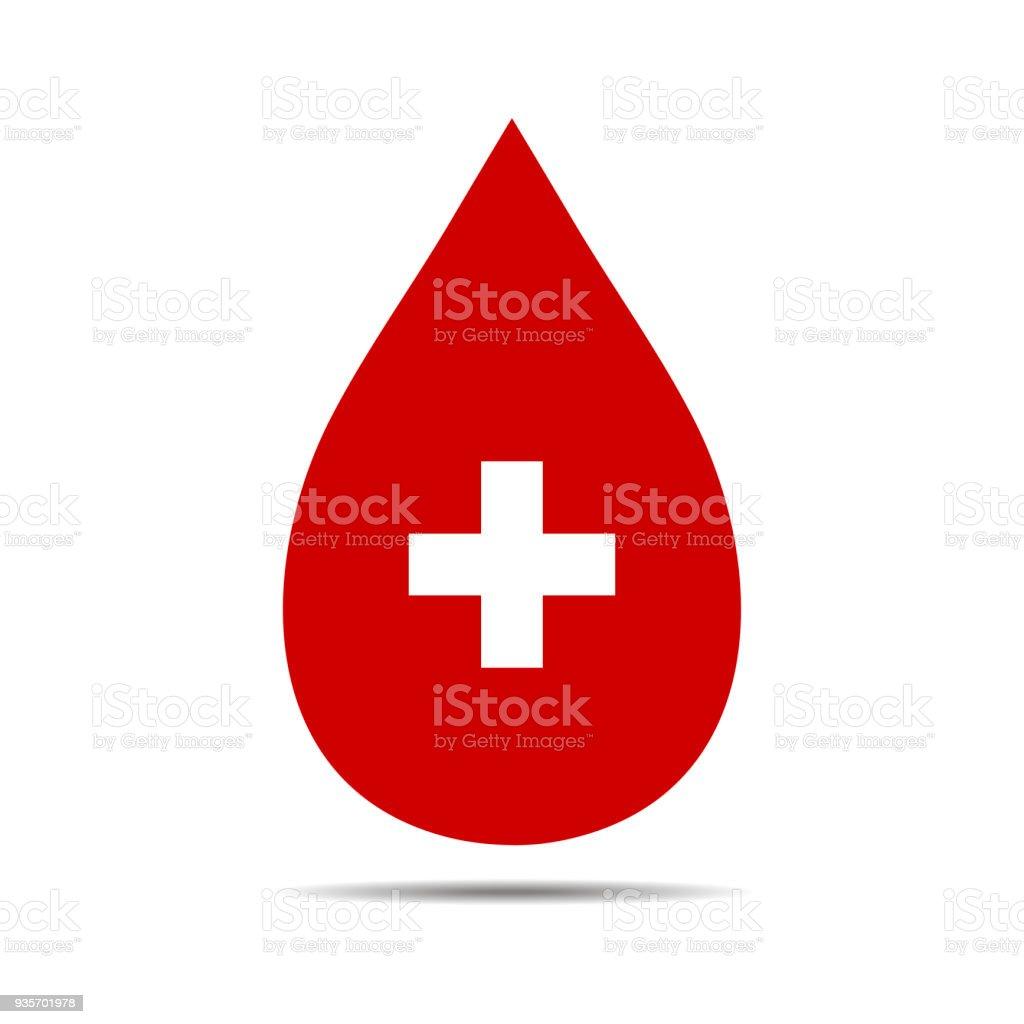 Donar la muestra de sangre de gota con Cruz - ilustración de arte vectorial