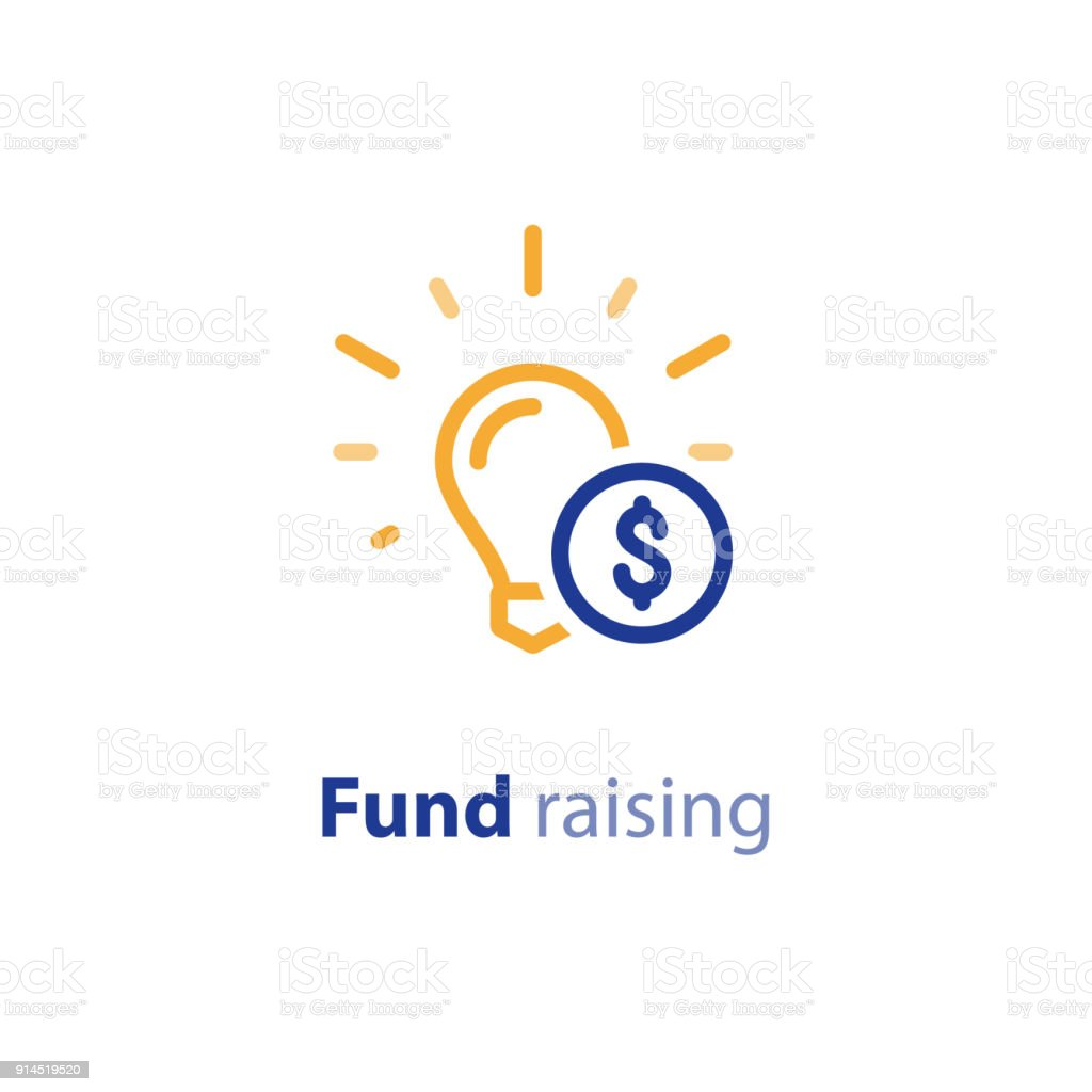 donate money crowdfunding line icon investment and consolidation