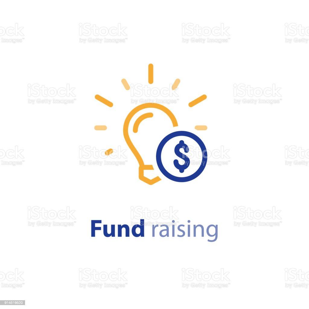 Faire Un Don Dargent Icone De Ligne Crowdfunding Concept