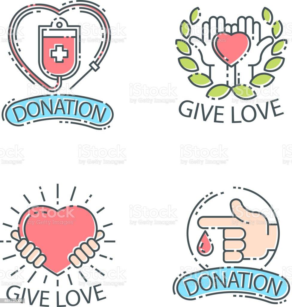 Faire Un Don Dargent Logo Set Icones Aide Icone Don Contribution
