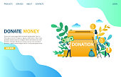 Donate money vector website template, web page and landing page design for website and mobile site development. Group of donors putting money in donation box. Charity funding concept.