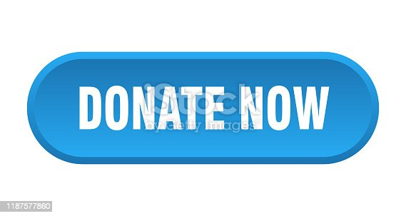 istock donate now button. donate now rounded blue sign. donate now 1187577860