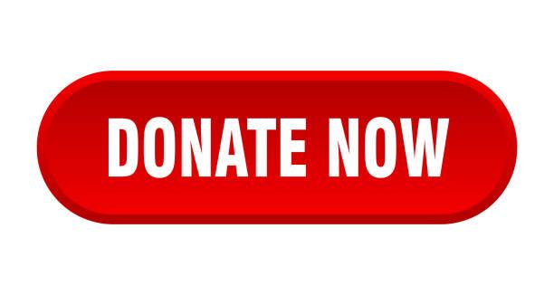 illustrazioni stock, clip art, cartoni animati e icone di tendenza di donate now button. donate now rounded red sign. donate now - tastierino numerico