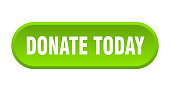 donate today button. donate today rounded green sign. donate today