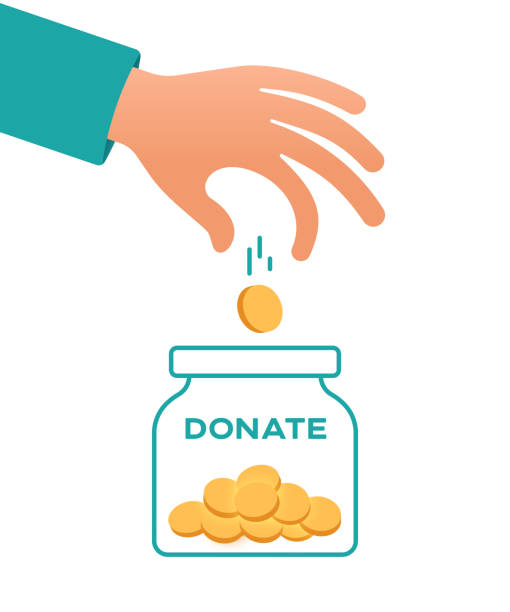 Donate Donate money jar with a person putting money in there. giving tuesday 2020 stock illustrations