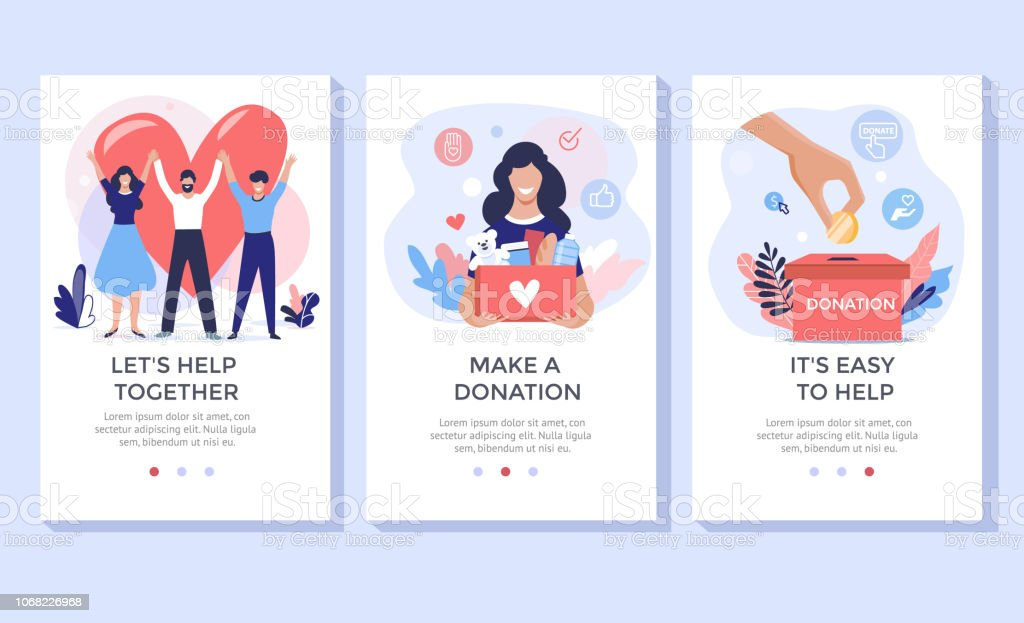 Donation and volunteers work concept illustration set. royalty-free donation and volunteers work concept illustration set stock illustration - download image now