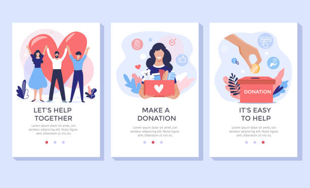 donation and volunteers work concept illustration set. - помощь stock illustrations