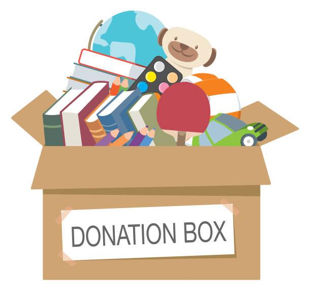 Donation box full of toys, books, Vector Donation box full of toys, books, giving tuesday 2020 stock illustrations