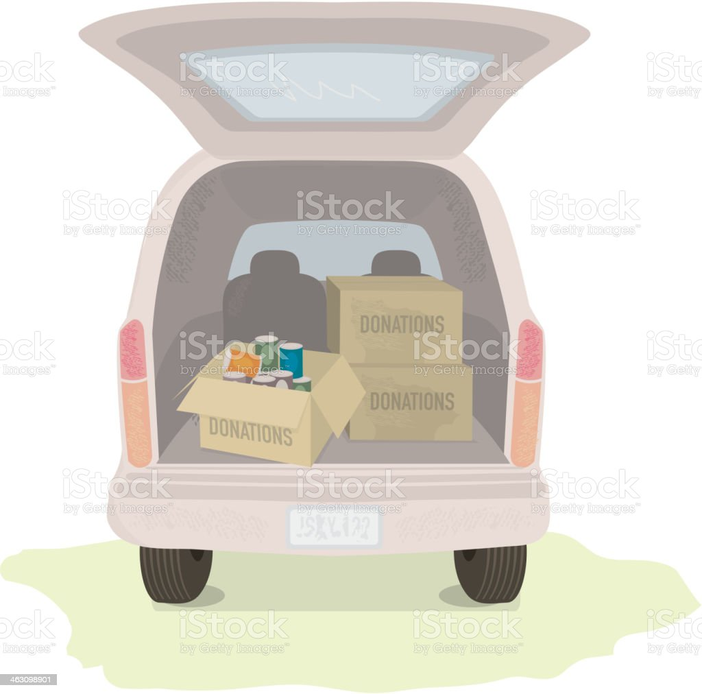 Donation boxes in the back of a car royalty-free stock vector art