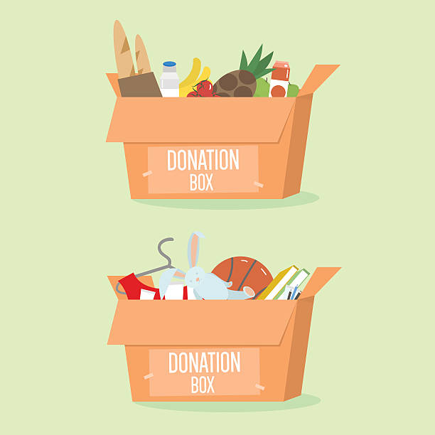 donation boxes set. box with different type of donation isolated. - grundnahrungsmittel stock-grafiken, -clipart, -cartoons und -symbole