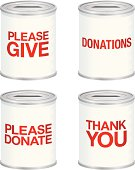 A set of 'donations' cans for charities isolated on white. Gradients were used when creating this illustration.