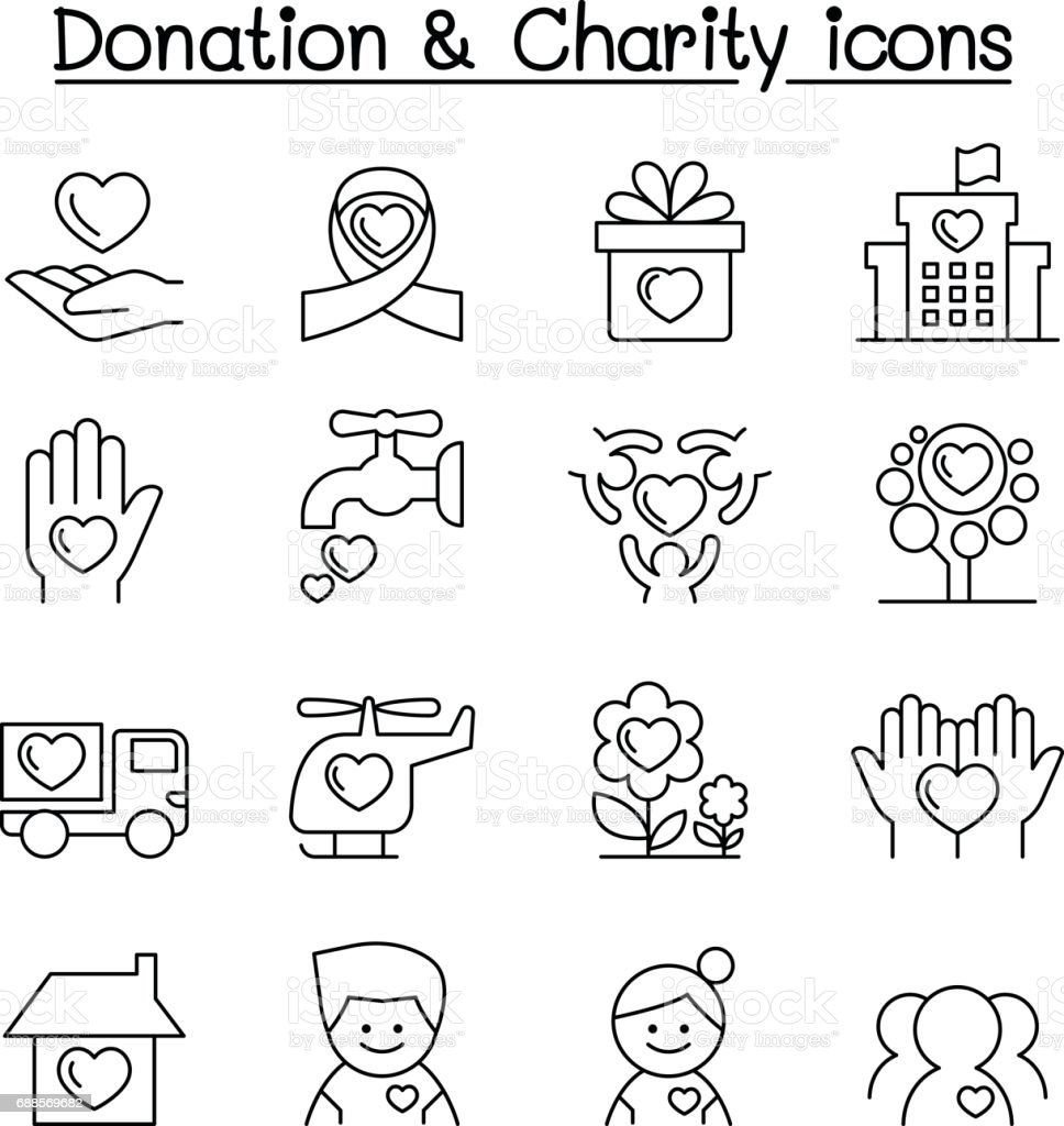 Donation & Charity icon set in thin line style vector art illustration