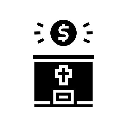 donation christianity glyph icon vector illustration
