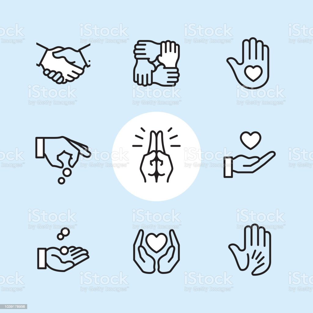 "Donation Gesture - outline icon set Charity & Donation Gesture / 9 Outline style Pixel Perfect icons / Set #24  First row of icons contains: Handshake, Holding hands (Mutual support), Hand with heart (Volunteer).  Second row contains: Donation icon (Giving hand), Praying Hands, Heart on Hand;   Third row contains: Handful receiving coins, Heart Protecting Hands (Love and care), Holding child's hand (High five).  Pixel Perfect Principle - all the icons are designed in 64x64px grid, outline stroke 2px. Complete ""Outline 3x3 Blue"" collection - https://www.istockphoto.com/collaboration/boards/eKCvfOhp3E-XZOE0AIzWqg A Helping Hand stock vector"