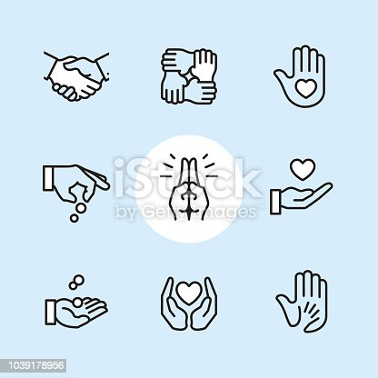 Charity & Donation Gesture / 9 Outline style Pixel Perfect icons / Set #24  First row of icons contains: Handshake, Holding hands (Mutual support), Hand with heart (Volunteer).  Second row contains: Donation icon (Giving hand), Praying Hands, Heart on Hand;   Third row contains: Handful receiving coins, Heart Protecting Hands (Love and care), Holding child's hand (High five).  Pixel Perfect Principle - all the icons are designed in 64x64px grid, outline stroke 2px. Complete