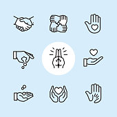 Charity & Donation Gesture / 9 Outline style Pixel Perfect icons / Set #24\n\nFirst row of icons contains:\nHandshake, Holding hands (Mutual support), Hand with heart (Volunteer).\n\nSecond row contains:\nDonation icon (Giving hand), Praying Hands, Heart on Hand; \n\nThird row contains:\nHandful receiving coins, Heart Protecting Hands (Love and care), Holding child's hand (High five).\n\nPixel Perfect Principle - all the icons are designed in 64x64px grid, outline stroke 2px. Complete 'Outline 3x3 Blue' collection - https://www.istockphoto.com/collaboration/boards/eKCvfOhp3E-XZOE0AIzWqg