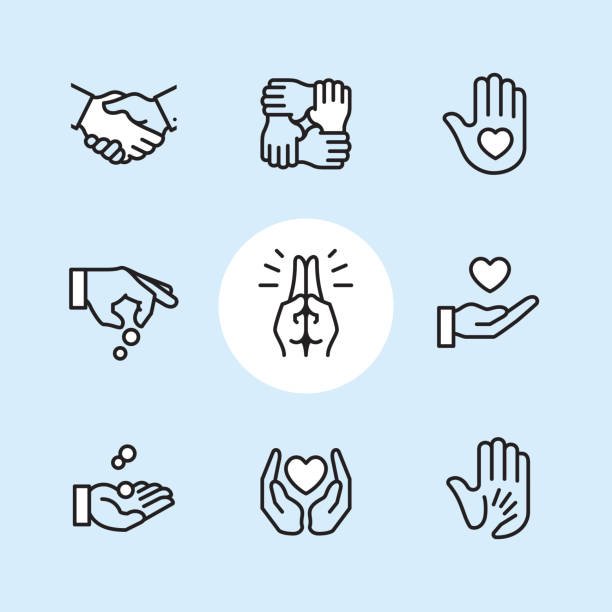 Donation Gesture - outline icon set Charity & Donation Gesture / 9 Outline style Pixel Perfect icons / Set #24  First row of icons contains: Handshake, Holding hands (Mutual support), Hand with heart (Volunteer).  Second row contains: Donation icon (Giving hand), Praying Hands, Heart on Hand;   Third row contains: Handful receiving coins, Heart Protecting Hands (Love and care), Holding child's hand (High five).  Pixel Perfect Principle - all the icons are designed in 64x64px grid, outline stroke 2px. Complete