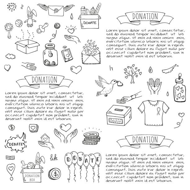 Donation icons set vector art illustration