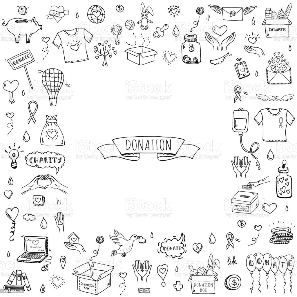 Donation icons set vector art illustration