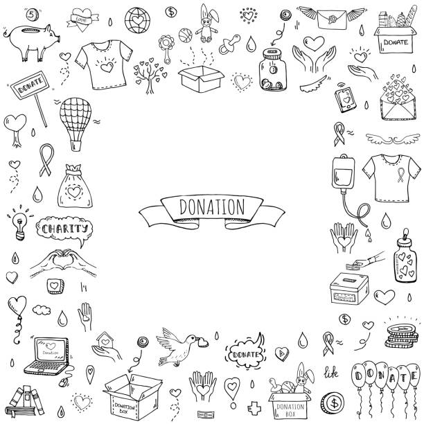 Donation icons set Hand drawn doodle Donation icons set. Vector illustration. Charity symbols collection Cartoon donate sketch elements: blood donation, box, heart, money jar, care, help, gift, giving hand, fund raising community drawings stock illustrations