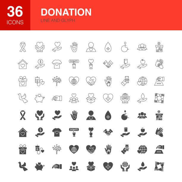 ilustraciones, imágenes clip art, dibujos animados e iconos de stock de línea de donación iconos de glifo web - sólido