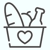 Donation Products line icon. Grocery basket with heart vector illustration isolated on white. Donation box with products outline style design, designed for web and app. Eps 10