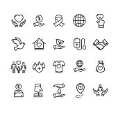 Donation Signs Black Thin Line Icon Set. Vector