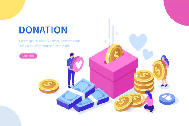 donation Donation and charity concept. Can use for web banner, infographics, hero images. Flat isometric vector illustration isolated on white background. charity stock illustrations